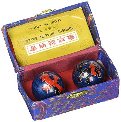 product: Blue with Phoenix and Dragon Chinese Health Baoding Balls