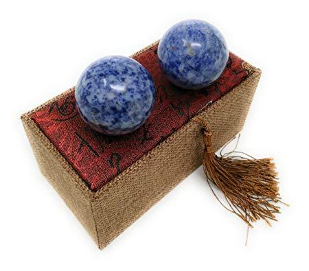 product: Blue Corundum Marble Stone Chinese Health Baoding Balls