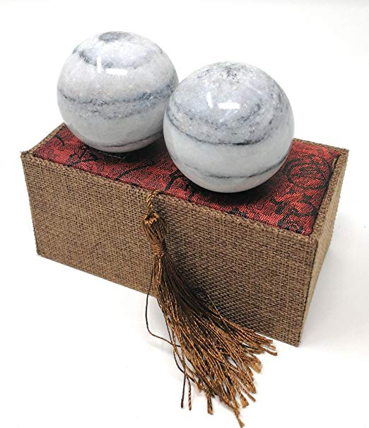 product: Galaxy Pattern Marble Stone Chinese Health Baoding Balls