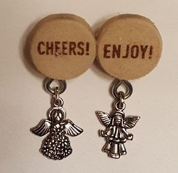 Two Angels Cheers Enjoy Brooch - Cork Art Pin - One of a Kind - Premium Clasp