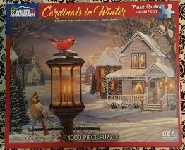 Cardinals in Winter 1000 Piece Jig Saw Puzzle from White Mountain - Open Box