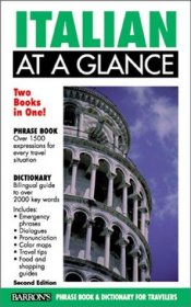 Italian at a Glance - Barron's Phrase Book & Dictionary for Travellers - Paperback Pocket Sized