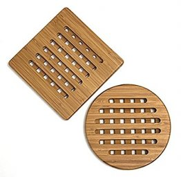 "Bamboo Trivets, Set of 2, One Square/One Round, 7-3/4"" - from Lipper International"