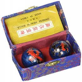 Blue with Phoenix and Dragon Chinese Health Baoding Balls