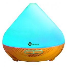 TaoTronics 300ml Aromatherapy Essential Oil Diffuser with Wood Grain, Zen Style, Cool Mist Ultrasonic Aroma Humidifier