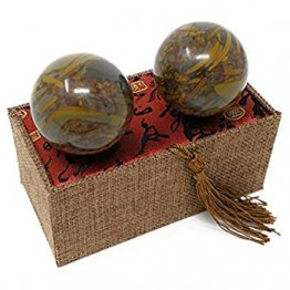 Jade Green Marble Stone Chinese Health Baoding Balls