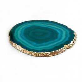 "Brazilian Agate Slice With 24k Gold Plated Rim - Teal (4""-5"") - Set of Four (4)"