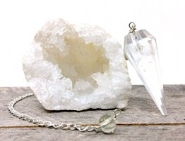 Crystal Quartz Geode Bohemian Meditation Set incl. Pendulum - Imported from Morocco