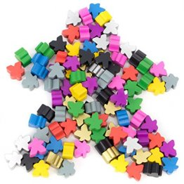Assorted Wooden Meeples, Full 16mm Size, Board Game Pawn Pieces by Brybelly - 100 count