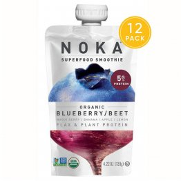 NOKA Superfood Pouches (Blueberry Beet) 12 Pack | 100% Organic Fruit And Veggie Smoothie Squeeze Packs | Non GMO, Gluten Free, Vegan, 5g Plant Protein | 4.2oz Each