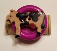 Cow on Purple Button - Cork Art Pin - Premium Clasp