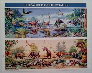 The World of Dinosaurs 1997 Sheet of Fifteen 32 Cent Postage Stamps